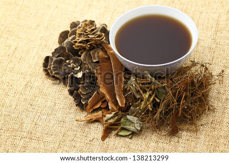 Chinese traditional herbs medicine drink - stock photo