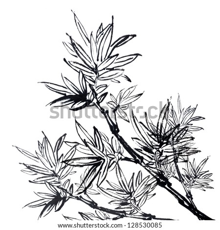 Chinese traditional ink painting, bamboo on white background. - stock photo