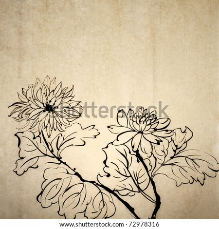 Chinese traditional ink painting on old art paper in grungy style. - stock photo