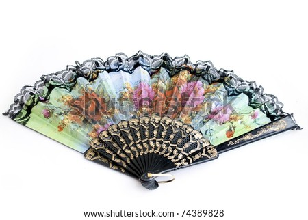 chinese traditional lace fan isolated on white