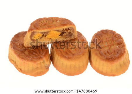 Chinese Traditional Moon Cakes With Sliced Section