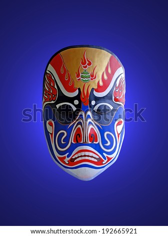 chinese traditional opera facial painting with blue isolated background - stock photo