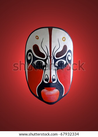 chinese traditional opera facial painting with red isolated background - stock photo
