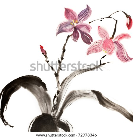 Chinese traditional painting of red and purple flower on white background.
