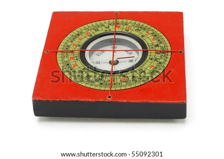 Chinese traditional red compass on white background - stock photo