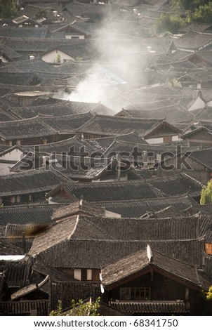 Chinese traditional rooftops in lijiang, zhongdian, Yunnan province - stock photo