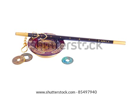 Chinese traditional steelyard and old coins - stock photo