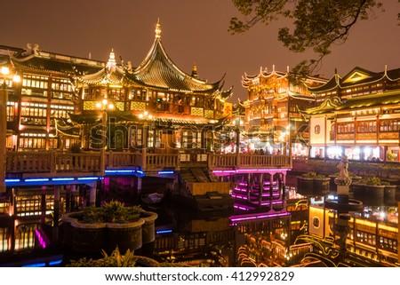 Chinese traditional Yuyuan Garden building scenery in night illumination, Shanghai - stock photo