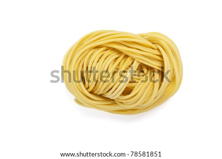 Chinese vermicelli, a closeup binding curl of instant noodle. - stock photo