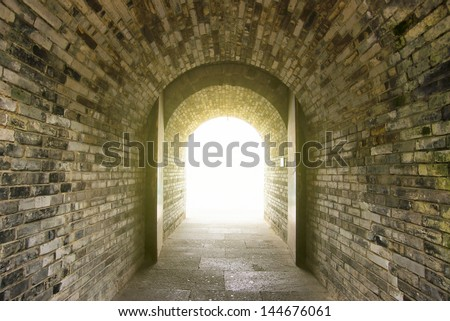 Chinese Walls door light - stock photo