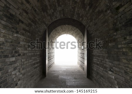 Chinese Walls door light - stock photo