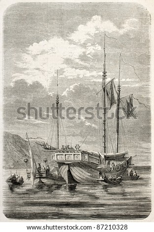 Chinese war junk old illustration. Created by Gaildrau, published on L'Illustration, Journal Universel, Paris, 1860 - stock photo