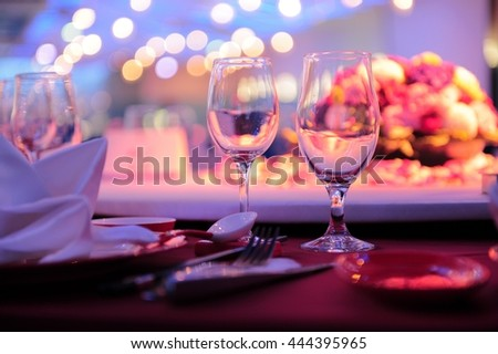 Chinese wedding restaurant table with light bokeh