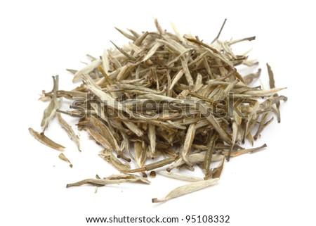 Chinese white tea isolated on white background - stock photo