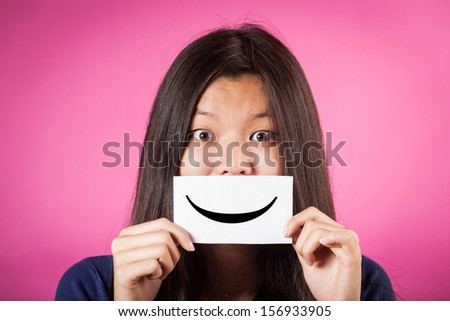 Chinese Woman Holding Smiling Emoticon