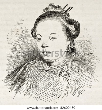 Chinese woman portrait, old illustration.  Created by Dore after Trevise, published on Le Tour du Monde, Paris, 1860 - stock photo