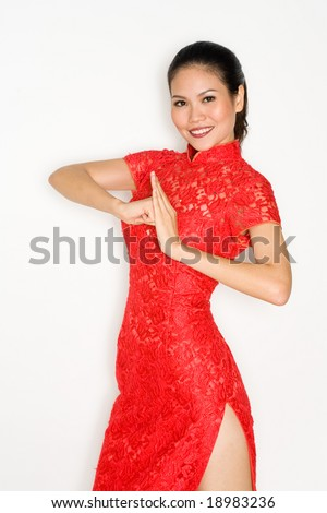 chinese woman wearing traditional red cheong sam