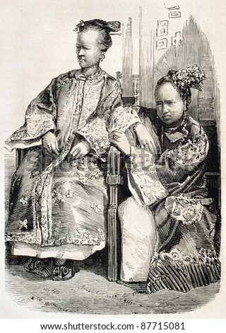 Chinese women old illustration. Created by Grandsire, published on L'Illustration, Journal Universel, Paris, 1860 - stock photo
