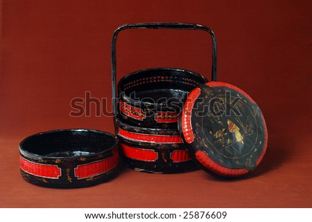 Chinese wood wedding basket - stock photo