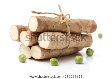 Chinese yam on white background  - stock photo