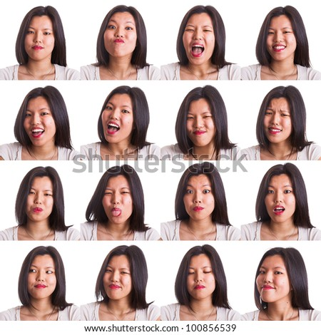 Chinese Young Woman Collection of Expressions - stock photo