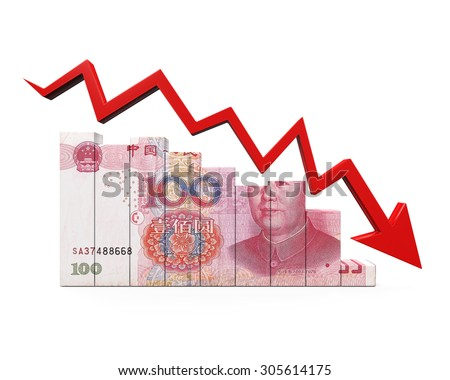 Chinese Yuan and Red Arrow - stock photo