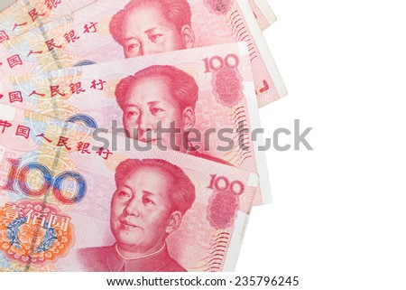 Chinese 100 yuan banknotes isolated on white