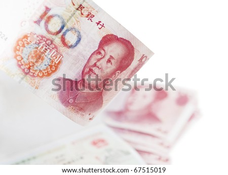 Chinese100 yuan bill and visa - stock photo