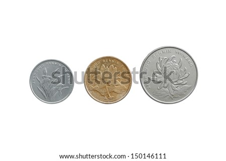 Chinese Yuan coins set front side isolated on white - stock photo