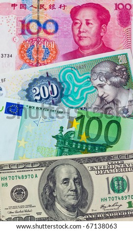 Chinese yuan. Future European euro notes. American dollars. Danish kroner - stock photo