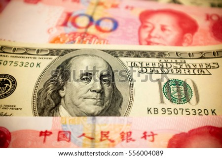 Chinese Yuan Note and U.S. dollar background  (Exchange rate concept)