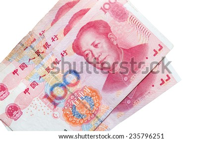 Chinese 100 yuan renminbi banknotes isolated on white - stock photo