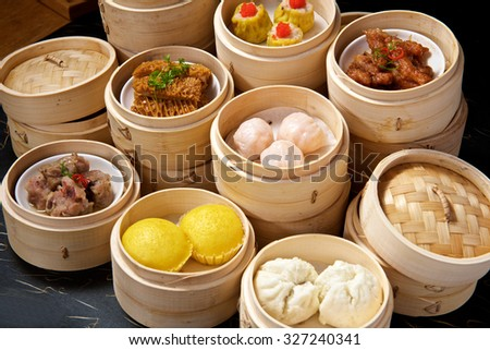 Chinese Yumcha Dimsum Set in bamboo container - stock photo