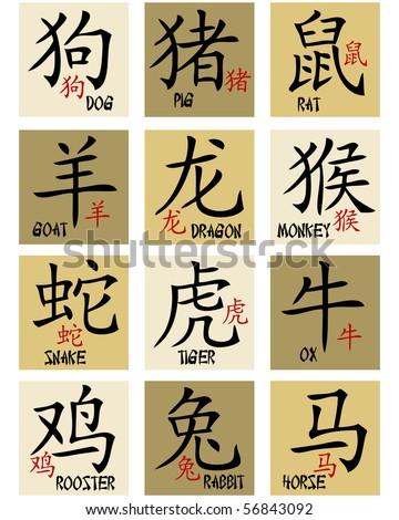 Chinese zodiac signs - stock photo