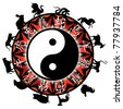 Chinese Zodiac with animal silhouettes and Chinese text - stock vector