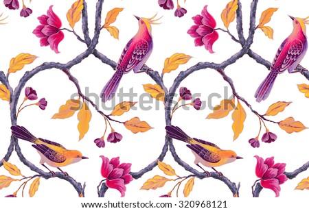 chinoiserie birds and flowers seamless background, romantic floral wallpaper - stock photo
