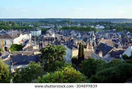 CHINON, FRANCE - MAY 31: Panoramic skyview on the old city of Chinon, France  - May 31, 2014 - stock photo