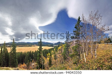 Chinook Arch, Western Foothills, west of Calgary, Alberta, Canada. Unique cloud formation. - stock photo