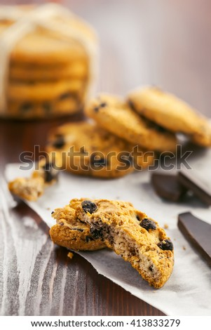 Chip cookies with chocolate for dessert. Baked biscuits.