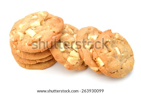 chip cookies with nut on white background  - stock photo