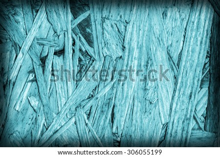 Chipboard Front Side, Bleached and Stained Cyan, Rough, Extra Coarse, Vignette Grunge Texture Detail. - stock photo