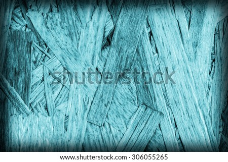 Chipboard Front Side, Bleached and Stained Cyan, Rough, Extra Coarse, Vignette Grunge Texture Detail.