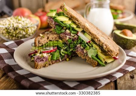 Chipotle-Avocado Summer Sandwich Recipe, bio healthy, eat clean - stock photo
