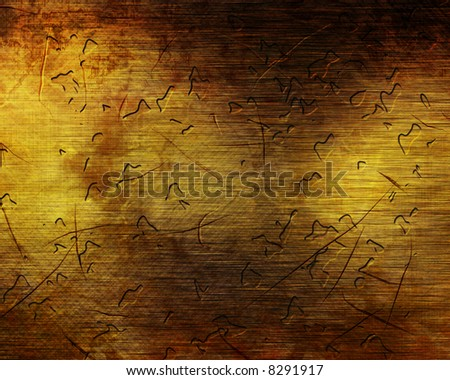 Chipped brushed brown metal plate - stock photo