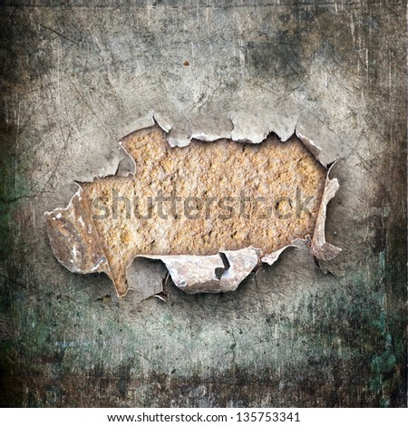 chipped metal surface, grunge background - stock photo