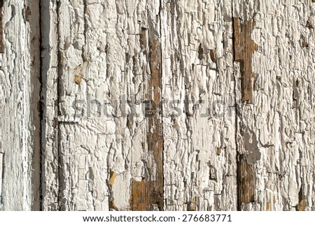 chipped paint on the door of the old boards texture background - stock photo