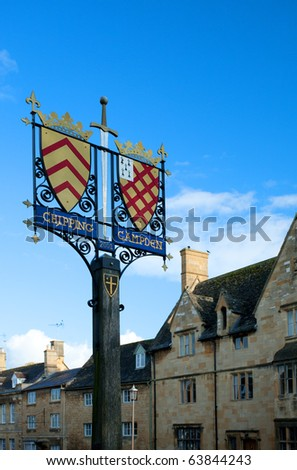 Chipping Campden Cotswold Town Sign.