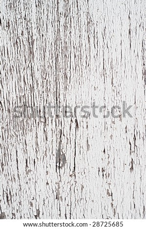 Chipping paint on an old door of a residential home - stock photo