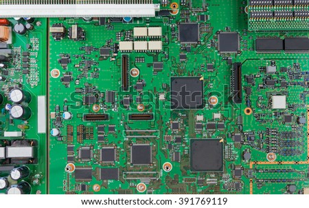 Chips and components with electronic circuit green board