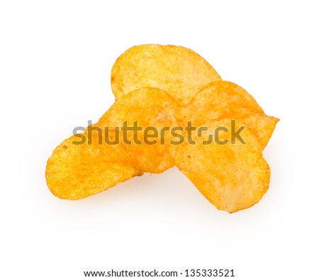 chips isolated on white background - stock photo